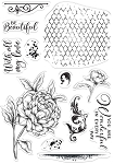 Collage Stamps Beautiful Peony
