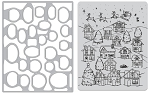 Winter Village Peek-A-Boo Cling Stamp & Die Bundle