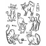 NEW!  AVAILABLE NOW Crazy Cats - Tim Holtz Cling Stamp Set