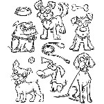 NEW! Crazy Dogs - Tim Holtz Cling Stamp Set