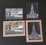 4 Black & White Photo Tinting Practice & Card Making Pack HOLIDAY