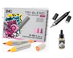 Black Friday TriBlend Alcohol Marker Bundle - 24 Brush Tip, Blender Pen, Blender Ink
